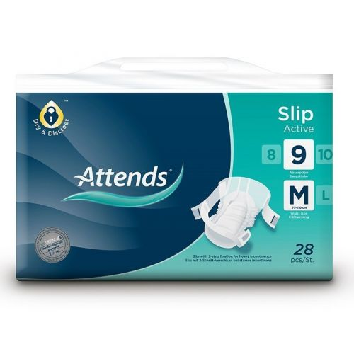 Attends Slip Active - Medium 9 (75-110cm/29-39in) Pack of 28